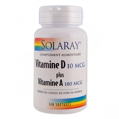 VITAMINE D+A 10 mcg/ 180 mcg 120 gelules